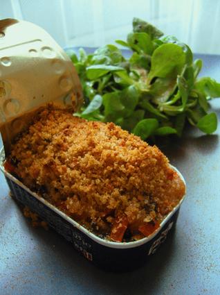Recette de gratin de tomates citronné sur sardines en boîte