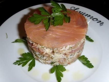 Recette de mille-feuille de crabe au saumon fumé