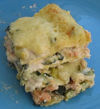 Recette de lasagnes aux deux saumons et courgettes