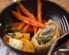 Recette filet mignon en croûte et ses carottes rôties à l'orange