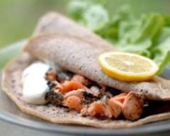 Recette galette de blé noir au saumon frais, aneth et crème fraiche