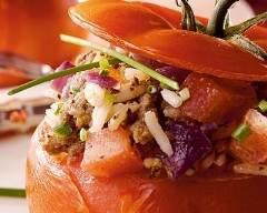 Recette tomates farcies au riz, au bœuf haché et aux oignons rouges