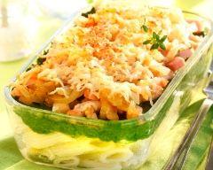 Recette gratin de pâtes aux épinards et aux lardons