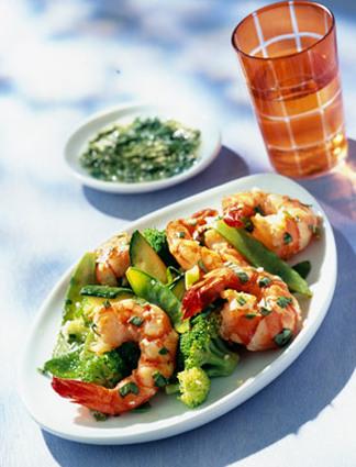 Recette de salade de gambas marinées au basilic