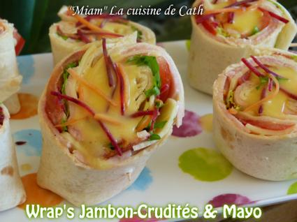 Recette de wrap jambon crudités et mayonnaise