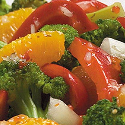 Recette de salade de brocolis aux pamplemousses roses