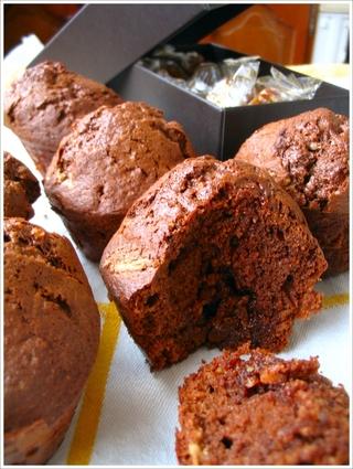 Recette de muffins chocolat-praliné au caramel au beurre salé