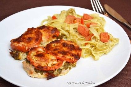 Recette escalopes de poulet gratinées au pesto, tomates et ...
