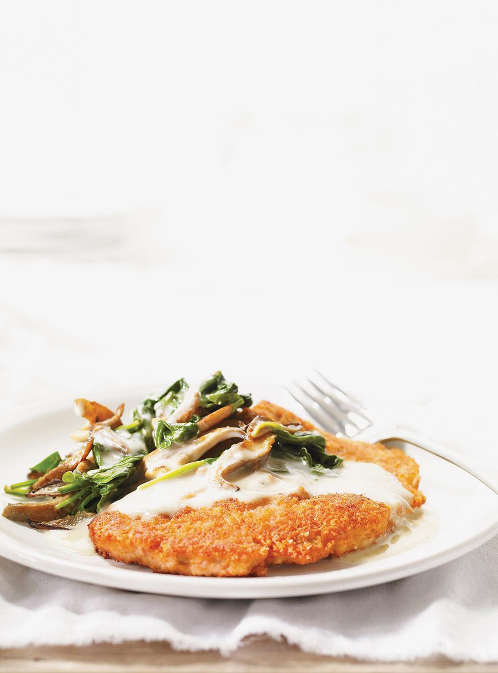 Escalopes de veau au parmesan, poêlée de champignons aux ...
