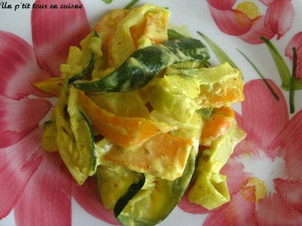 Recette de tagliatelles de légumes à la crème et au curry