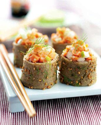 Recette de sushi crêpes sarrasin et tartare de saumon
