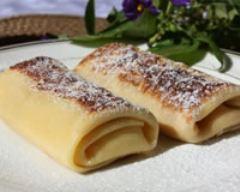 Recette crêpes fourrées au fromage blanc vanillé et raisins secs