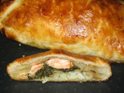 Recette de koulibiac de saumon à l'oseille et champignons de paris ...