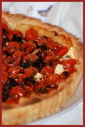 Recette de tarte aux tomates cerises et chèvre frais
