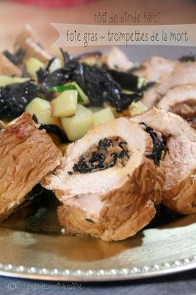 Recette de rôti de dinde farci au foie gras et champignons