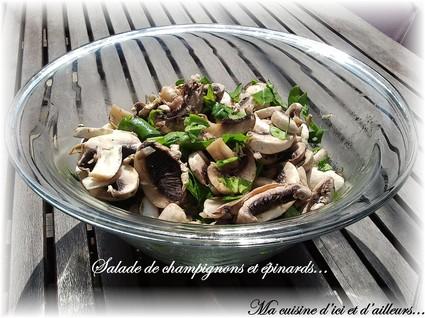 Recette de salade de champignons et épinards