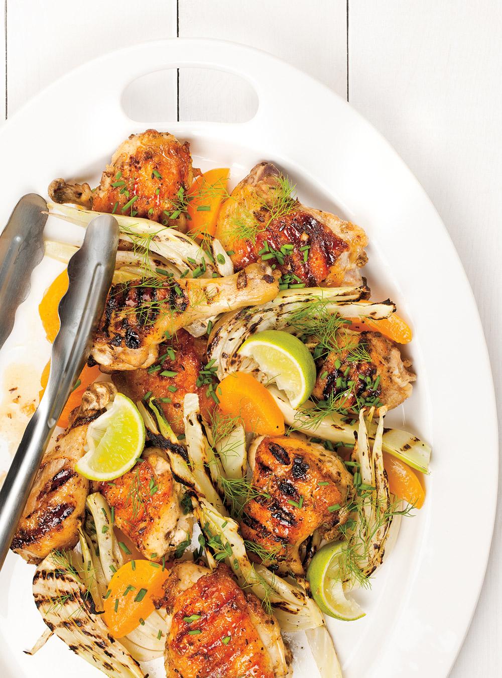Poulet grillé au fenouil et aux abricots   ricardo