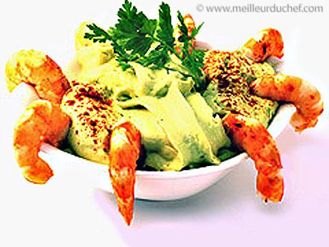 Espuma d'avocat aux crevettes épicées  recette de cuisine avec ...
