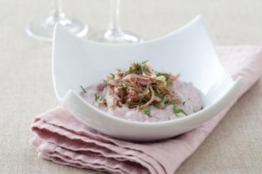 Recette de risotto au vin rouge, effiloché de canard en persillade ...