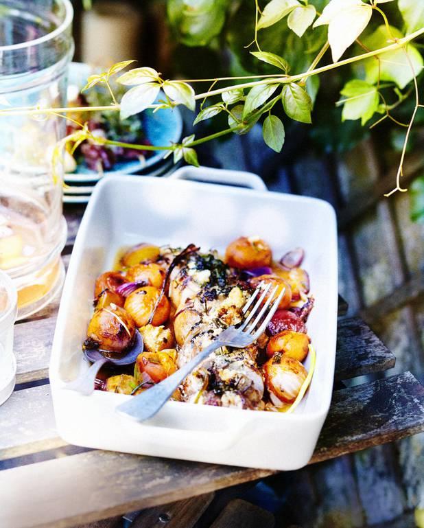 Filets mignons farcis aux olives et fruits rôtis au miel pour 6 personnes