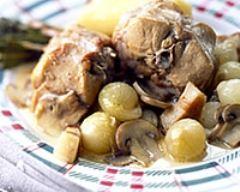 Recette lapin au vin blanc et aux champignons de paris