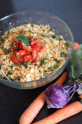 Recette de taboulé végétal citronné, chou-rave et carottes
