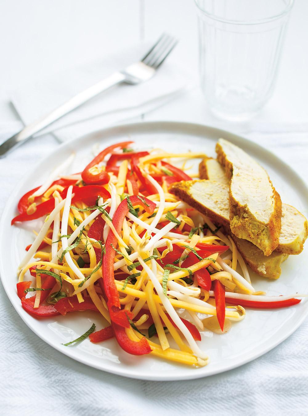 Salade de mangue verte et poulet au cari | ricardo