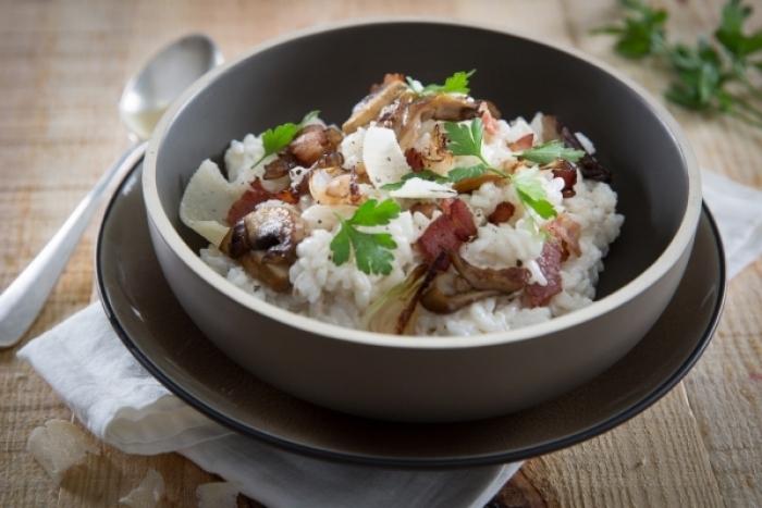 Recette de risotto au bacon et aux champignons facile et rapide