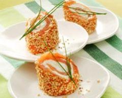 Recette petites bouchées de saumon aux graines de sésame