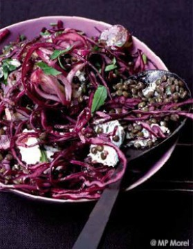 Salade de lentilles vertes et chou rouge aux raisins pour 4 ...