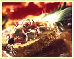 Recette ananas farci de riz et calamars