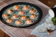 Recette de bouchées de radis noir aux rillettes de saumon