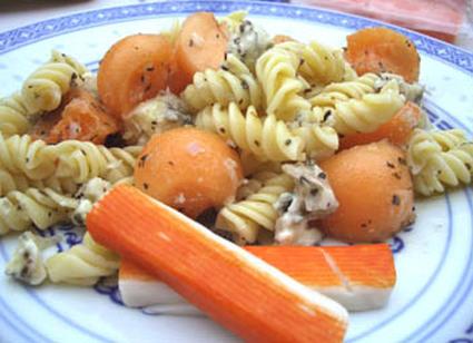 Recette de fusillis et melon en salade au gorgonzola