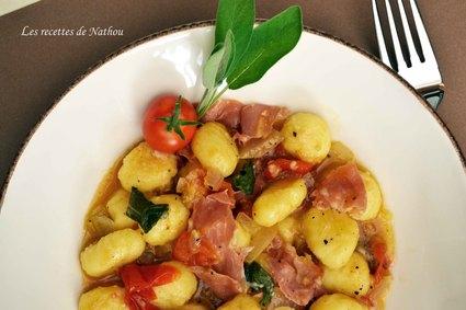 Recette de gnocchi de pomme de terre au jambon de parme et à la ...