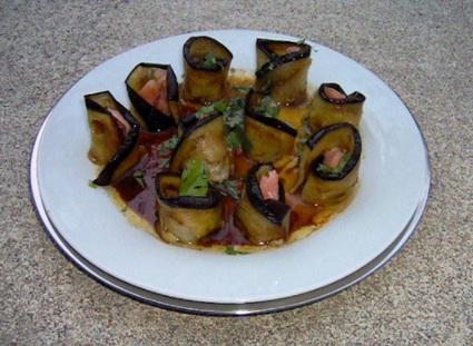 Recette de makis de saumon aux aubergines