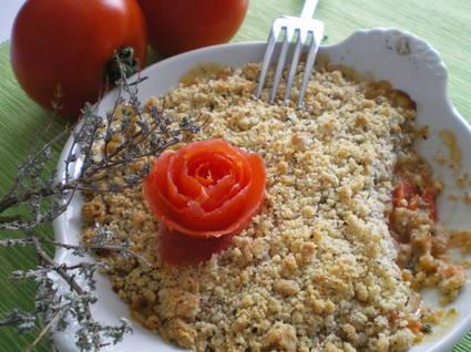 Recette de crumble de tomates, mozzarella et chèvre