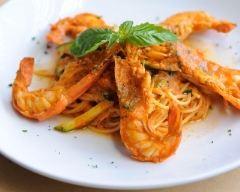 Recette spaghettis et gambas à la crème de safran