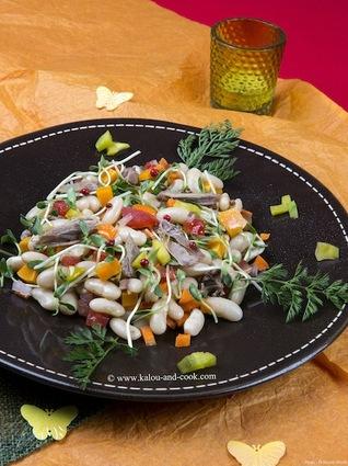 Recette de salade de haricots blancs, canard et mangue