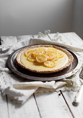 Tarte au citron & tranches de citron confites