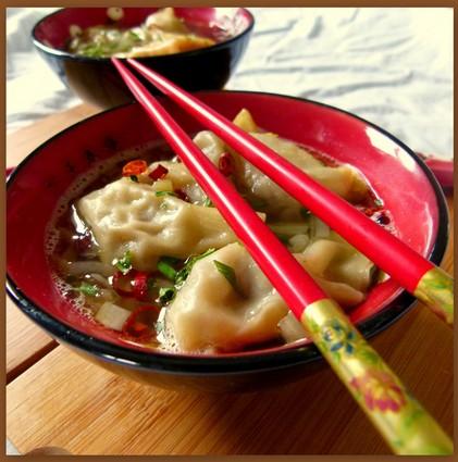 Recette de soupe de raviolis wonton au canard et gingembre