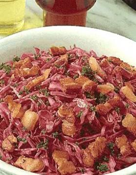 Salade de chou rouge au lard pour 4 personnes