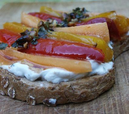 Recette de bruschetta melon-poivron