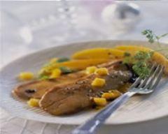 Recette foie gras d'oie et éventail de fruits ensoleillés