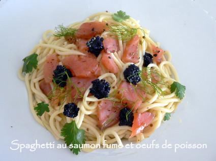 Recette de spaghetti au saumon fumé et oeufs de poisson