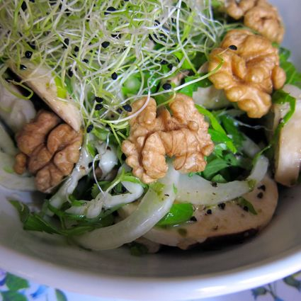 Recette de salade hivernale avec une sauce au jus de pomme