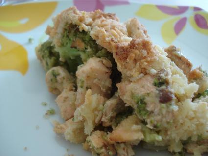 Recette de crumble de saumon aux brocolis et mascarpone