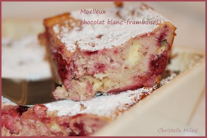 Recette de moelleux chocolat blanc-framboises
