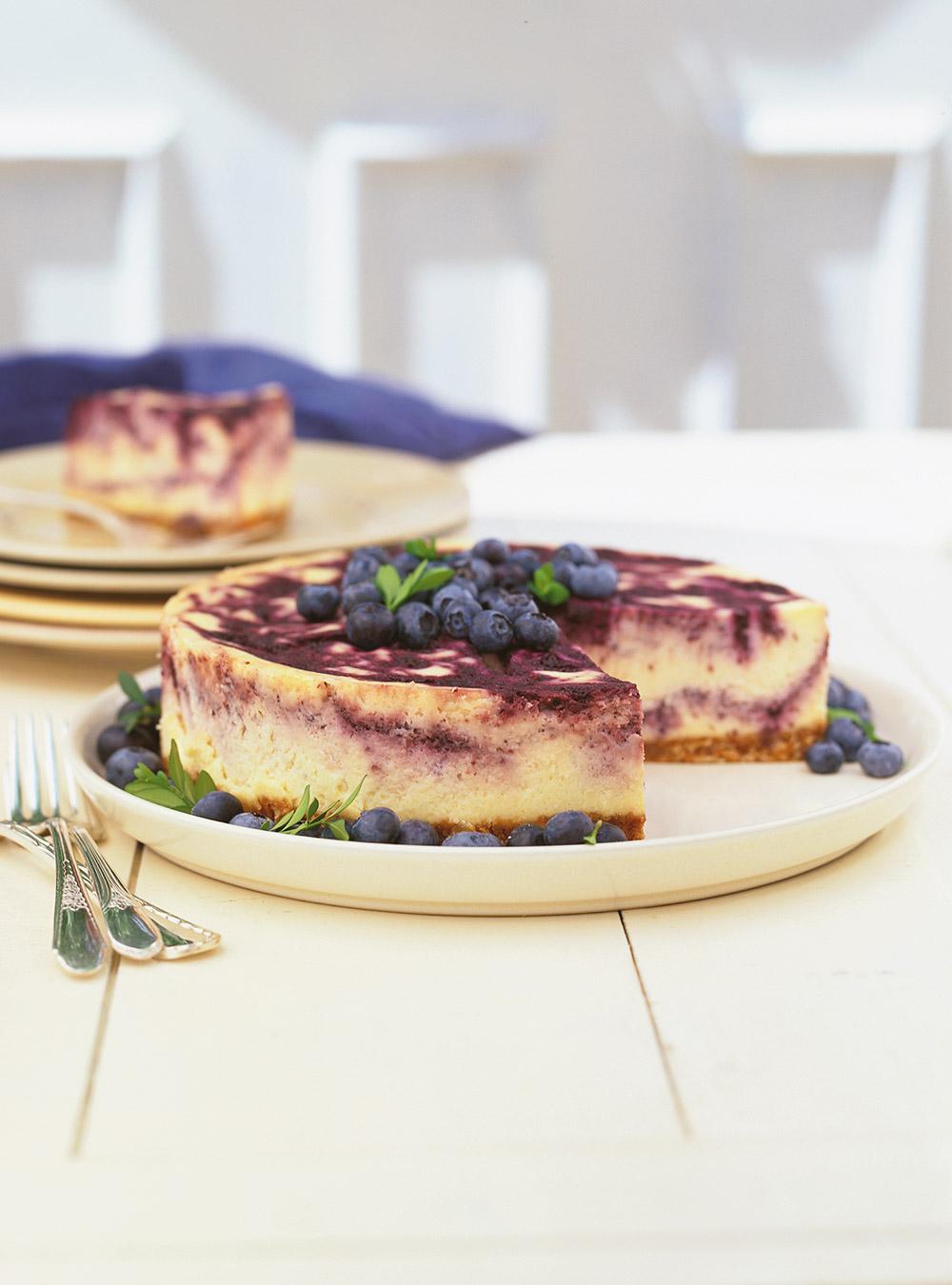Gâteau au fromage marbré aux bleuets   ricardo