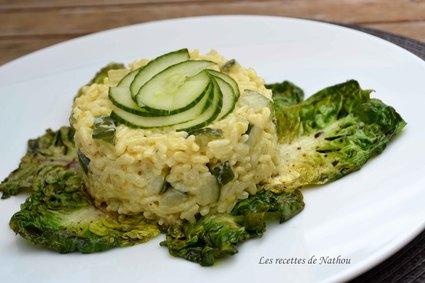 Recette de risotto aux courgettes et au curry, sucrines braisées au ...