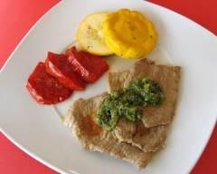 Recette veau poêlé avec sauce à l'ail rôti et basilic